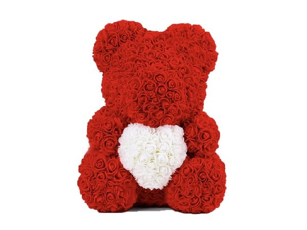 Rose Teddy with heart - red / white