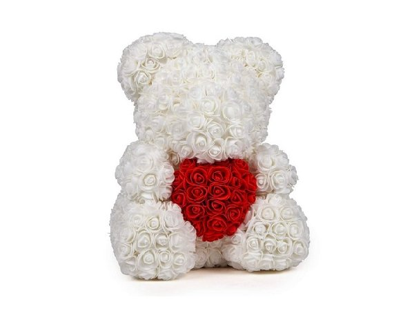 Rose Teddy with heart - white/red