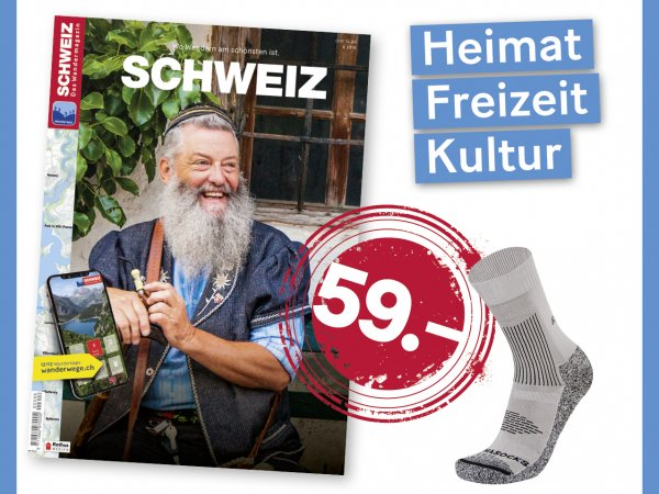 Hiking magazine SWITZERLAND annual subscription - 8 issues & 1 pair of hiking socks