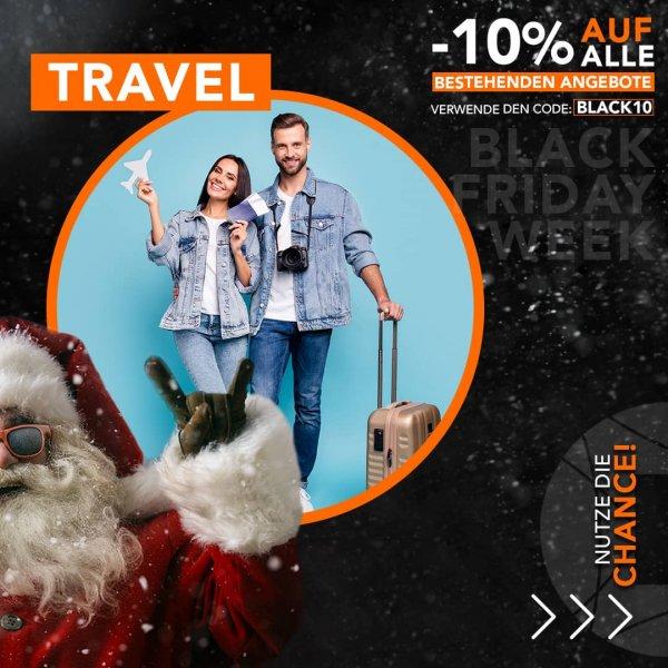 Black Friday Week Travel Angebote: 10% Rabattcode