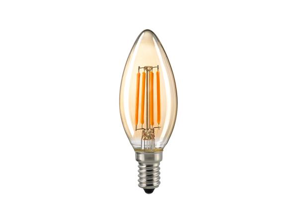 Leuchtmittel FILAMENT Kerze LED E14 gold