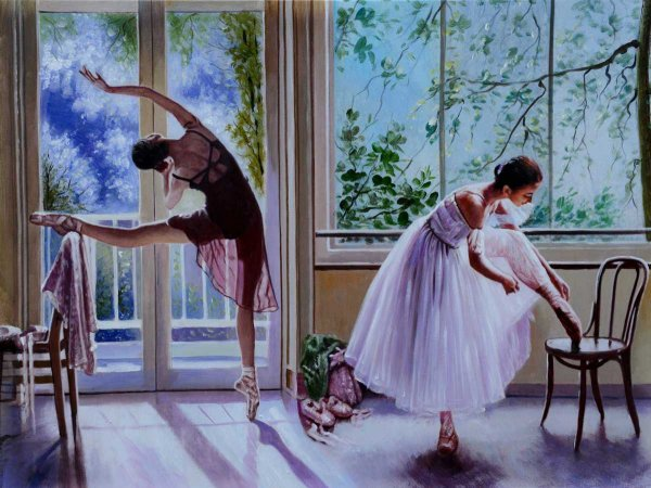 Hand-painted oil painting Ballet Time 3 (without frame)