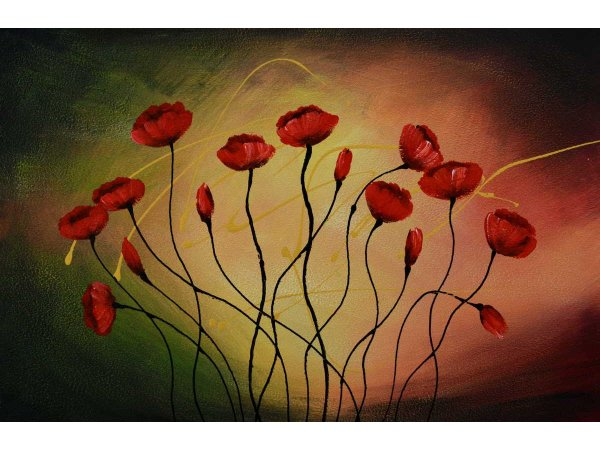 Hand-painted oil painting Tulips in Dawn (without frame)