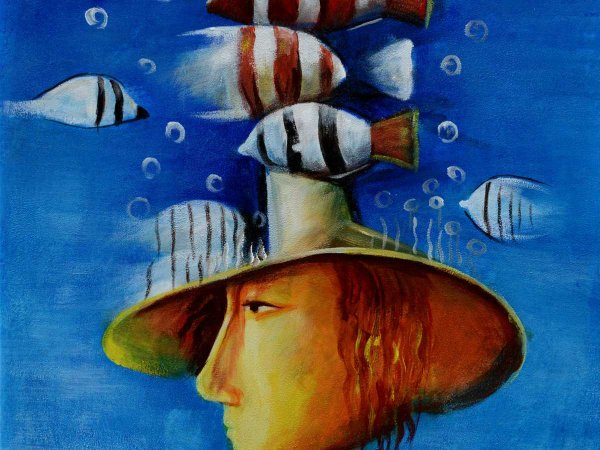 Hand-painted oil painting Fishes in my Head (without frame)
