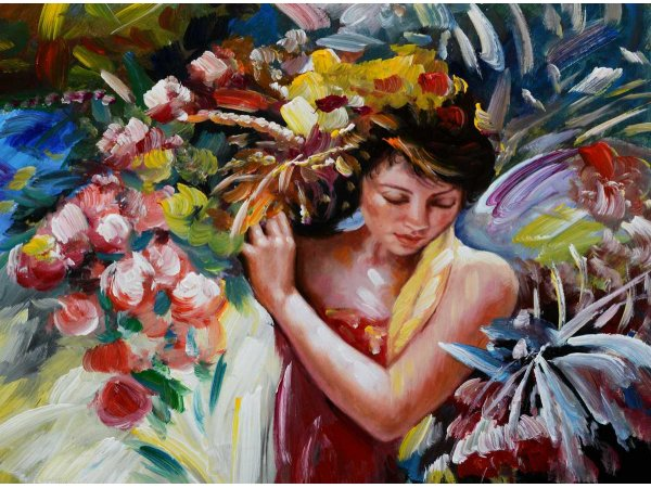 Handpainted Oil Painting Harvesting Flowers (Without Frame)