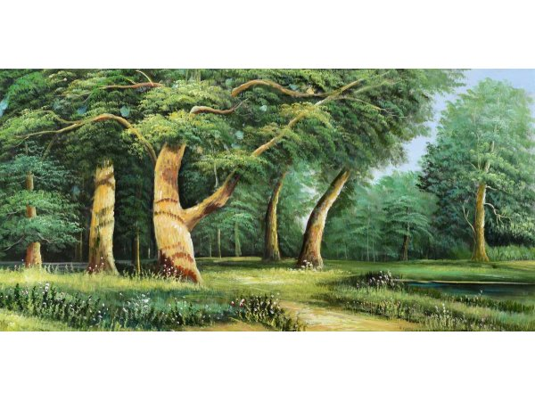 Hand-painted oil paintings Green Forest (without frame)