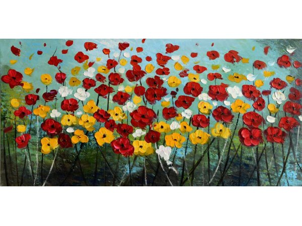 Hand-painted oil painting Flower Meadow (without frame)