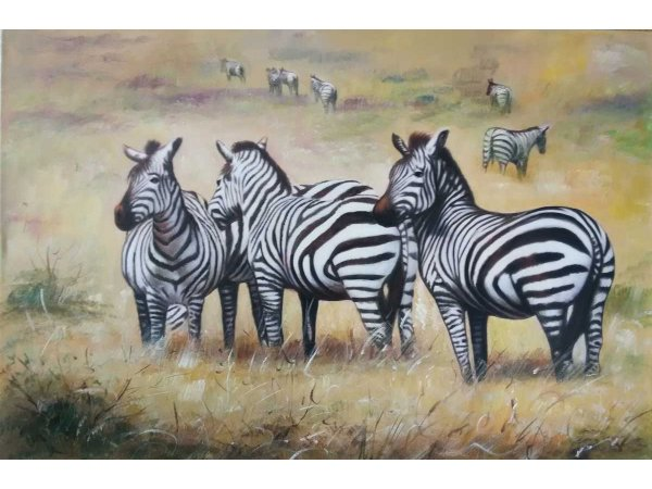 Hand-painted oil painting zebras in safari (without frame)