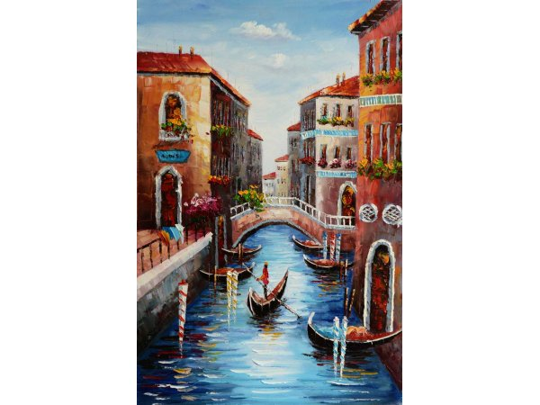 Handpainted Venice Gondola 1 Oil Painting (without frame)