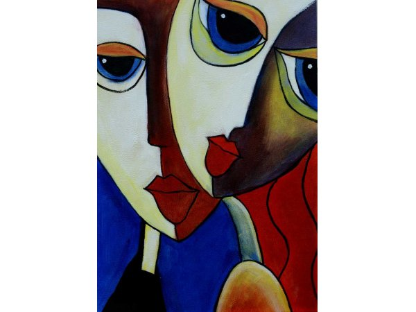 Hand-painted oil painting Close Friends 1 (without frame)
