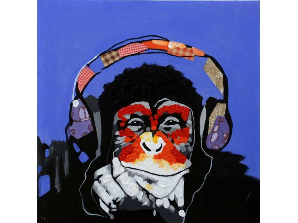 Hand-painted oil painting Monkey Music (without frame)