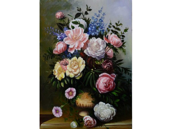 Hand-painted oil painting vase bouquet 1 (without frame)