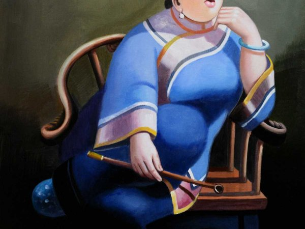 Hand-Painted Oil Paintings Leisure Lady 2 (Without Frame)