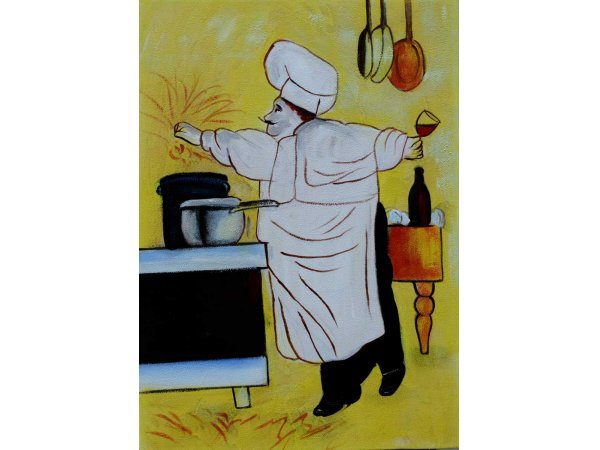 Hand-painted oil paintings Happy Cook 2 (without frame)