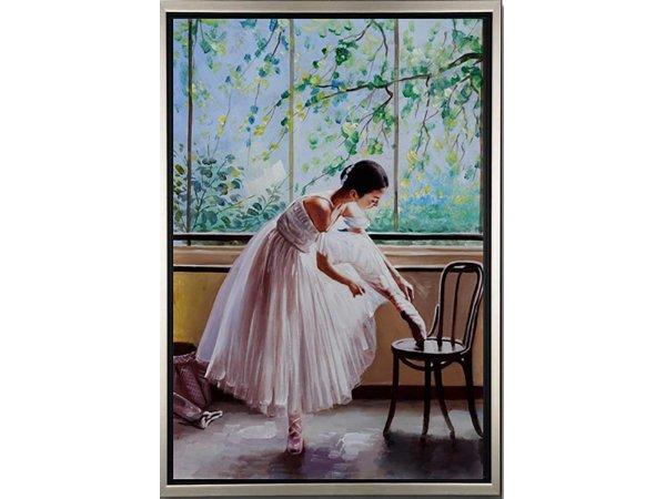 Handgemalene Ölgemälde Ballet Time 2 (mit silbernem Rahmen)