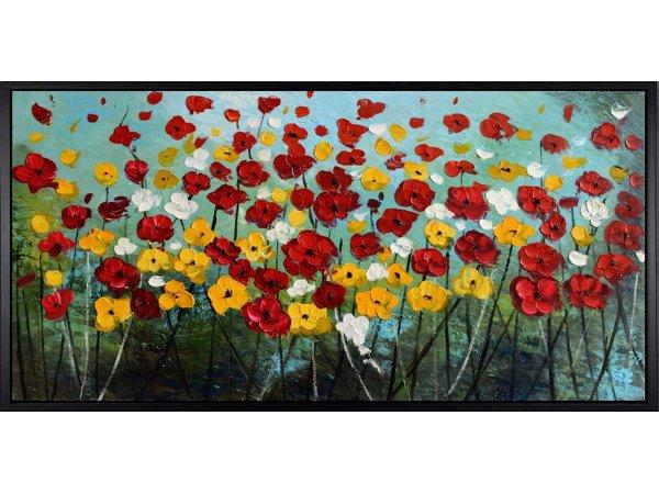 Handgemalene Ölgemälde Flower Meadow (mit schwarzem Rahmen)