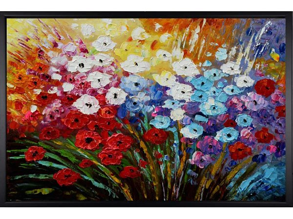 Hand painted oil painting Springtime (with black frame)