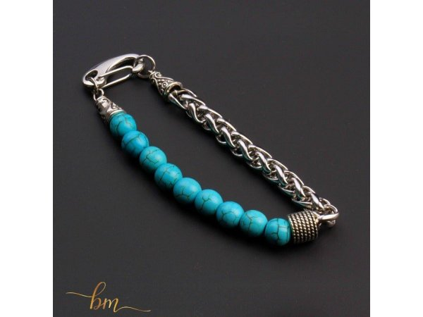 Men protect bracelet turquoise blue
