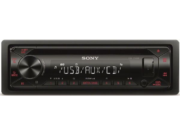CD-mp3-Tuner black Front USB & Aux, Displayfarbe rot