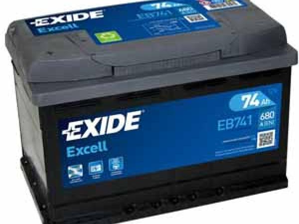Excell 12V/74Ah/680A LxBxH 278x175x190mm/B13/S:1
