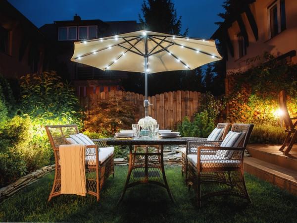 Sonnenschirm mit LED RAPALLO grau-beige CH