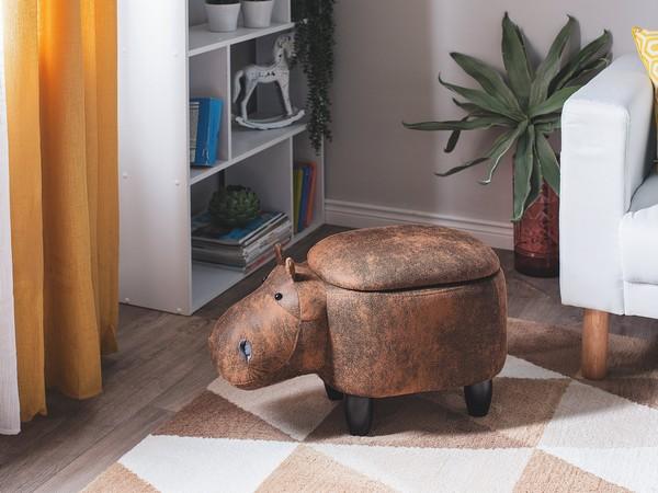 Hocker HIPPO Lederoptik hellbraun CH