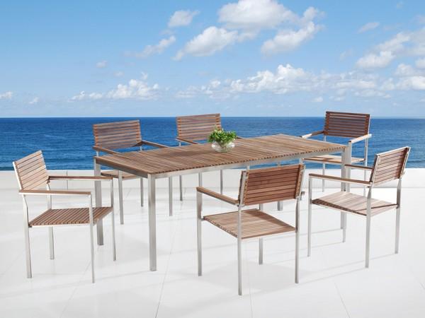 Beliani Gartenmöbel  VIAREGGIO 6 Stühle CH